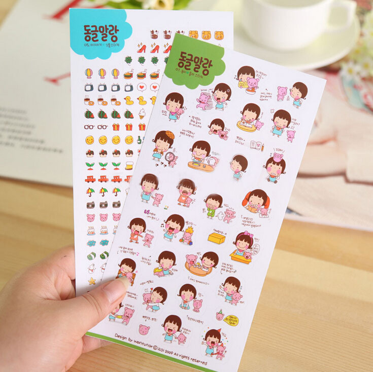 6 Sheets/set Cute Lovely Kids Age Phone Calendar Book Album Diary Decorative Paper Stickers Post It Scrapbooking Shipping K6546
