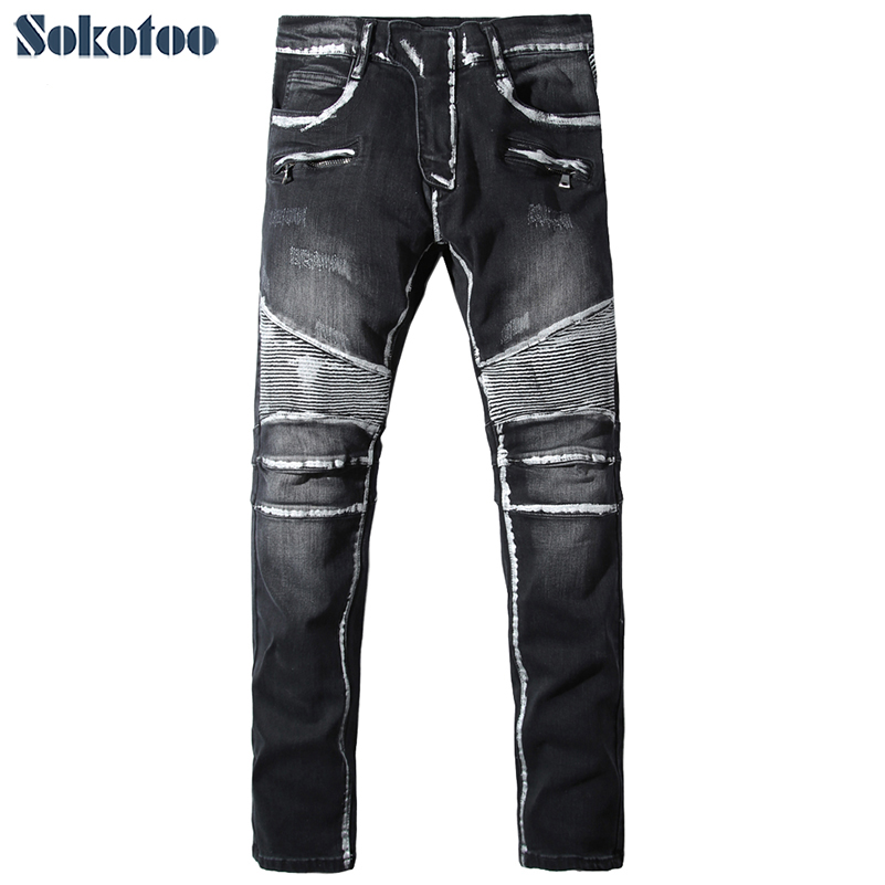 Sokotoo Men's casual white painted black biker jeans for moto Male pleated slim stretch denim pants Long trousers