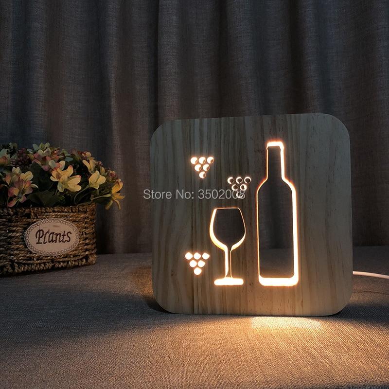 3D wooden nightlight glass bottle hollow design USB power LED warm lamp wine shape night light chess shape design ceramic disc safe hand keeping warm 5min charging 2 6 hours natural heat massage design