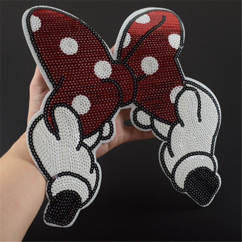 Iron on patches for clothing 25cm Dot Bow Red Sequined Fabric Sequins Strange things T shirt Women Patch Clothes Stickers