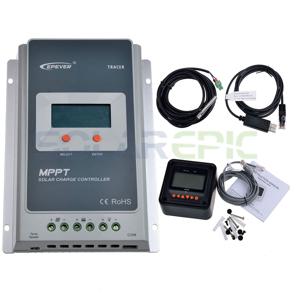40A MPPT Solar Charge Controller + Remote Meter MT50 EPEVER Battery Regulator+Battery Temperature Sensor and Monitoring Adapter tracer2210a black mt50 remote meter mppt solar battery controller with usb and temperature sensor 20a