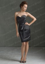 Free Shipping Special Occasion Promotion Sheath Pleated Knee Length Short Black Bridesmaid Dresses With Sash BD057