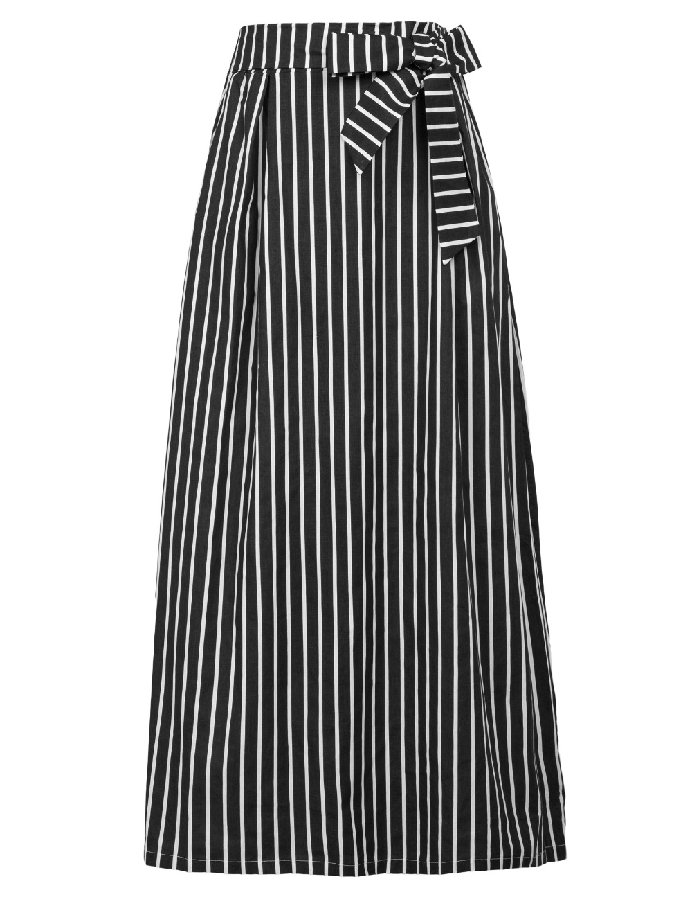 New Long Women striped skirt elegant 50s retro High Waist Print Maxi skirt Stretchy office work party Skirts Plus Size S-2xl