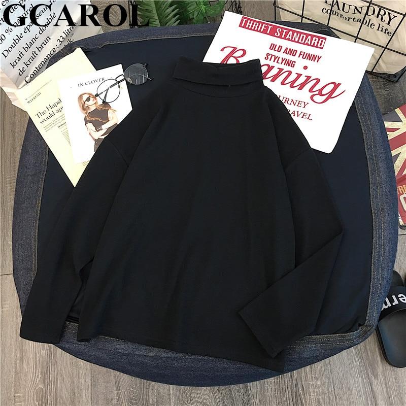 GCAROL damska koszulka z golfem w paski z pełnym rękawem topy ze streczu podstawowe opuszczane ramiona podkoszulek Basic Perfect Pullover M-XL 3