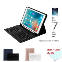 Ultra thin Wireless Bluetooth Keyboard With Pencil Holder 7 Color Backlit Case Cover For iPad Air 3 10.5 2019 Pro 10.5 inch 2017