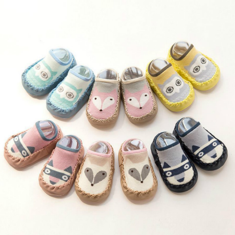 New 0-3 Years Baby Winter And Autumn Non-slip Floor Socks Newborn Babe Children Shoes Baby Boy Toddler Girls Kids Leather Shoes