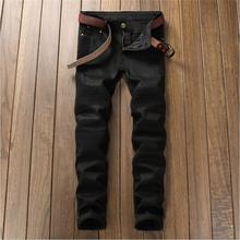 2017 new men jeansbeggars jeans biker jeans ripped knees holes Male Casual motociclista jeans fashion jeans men black 6603