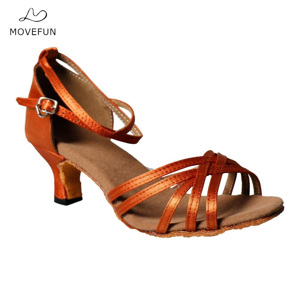 Movefun Mujer de alta calidad Zapatos de baile latino Sandalias de satén Damas Fiesta social Zapato de baile Chica Zapatos de salsa de tango 5 cm Tacón -70