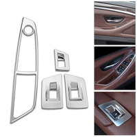 DWCX 4Pcs Chrome Interior Door Window lift Adjust Switch Panel Trim cover for BMW 5 Series F10 520 525 2011 2012 2013 2014 2015