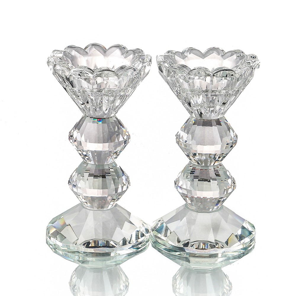 Pair of Candle Holders H/&D Votive Tealight Crystal Candle Holder Table Centerpiece with Rhinestones for Wedding Home Decor,8.3-INCH