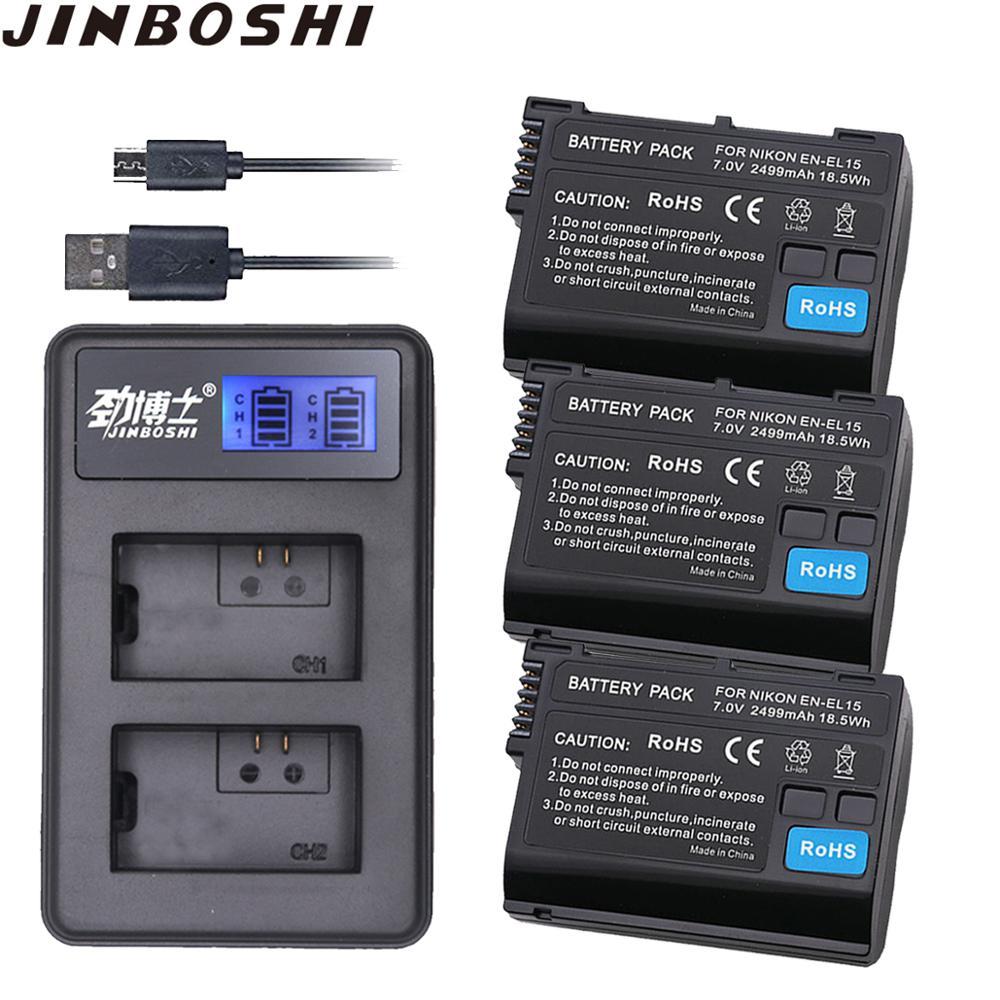 3x EN-EL15 ENEL15 EN EL15 ENEL15A bateria + USB carregador de LCD para Nikon SLR D750 D7000 D7100 D7200 D610 D7500 d810 D850 Z7 Z6