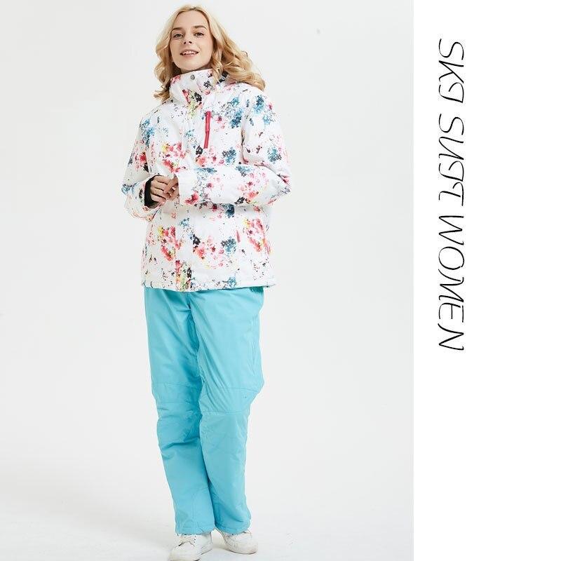 Hiver femmes marques de Ski en plein air de haute qualité chaud imperméable coupe-vent vêtements pantalons de neige et veste Ski snowboard costumes