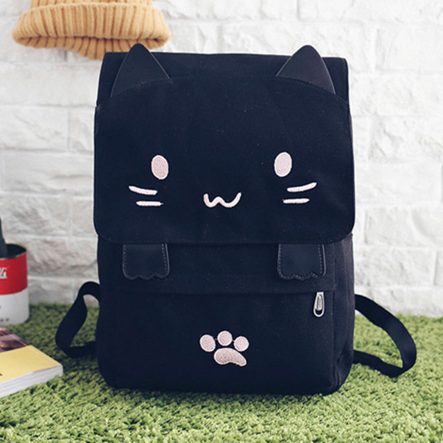 de3fc33bc0a4 Cute Cat Embroidery women Backpack cartoon School Bags For Teenager Girls  Larger Capacity casual Travel Bag Students Book Bags