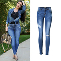 2017 Women Skinny Jeans New Fashion Pencil Pants Denim Strech Blue Hole Ripped Low Waist Plus Size Jeans Hole Trousers P45
