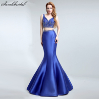 Sexy Two Pieces Royal Blue Mermaid Evening Dresses 2017 New Fashion Crystal Beaded Backless Party Gowns Vestido De Festa LSX147