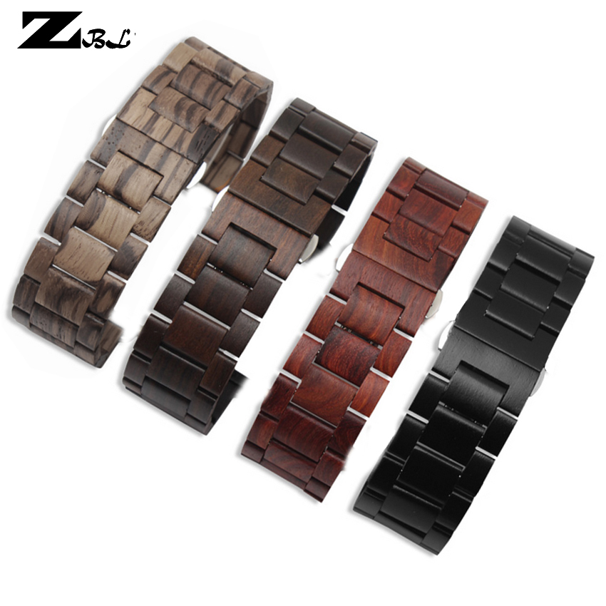 Unique red sandal wood bracelet sanders Watchband 22 24mm watch strap blackwood leisurewristwatches band for apple 38 42mm band image