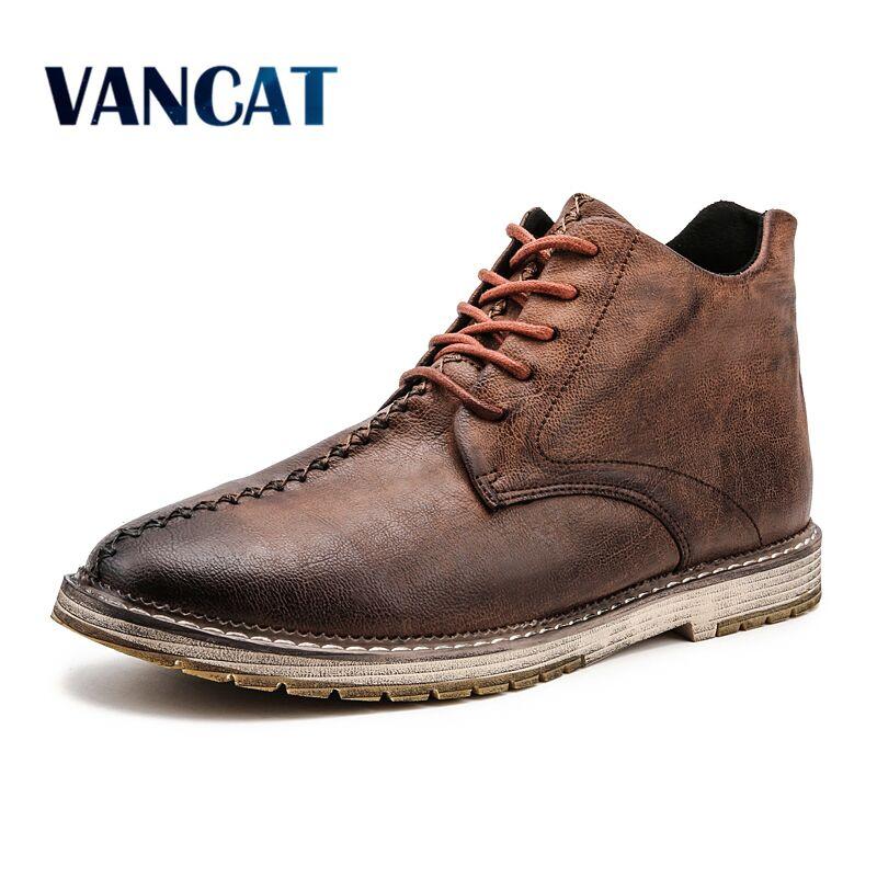 Vancat 2018 Nouveau Automne Hiver Mode Hommes Bottes Vintage Style Casual Hommes Chaussures Haute-Cut Dentelle-Up Hommes martin Bottes Plus La Taille 38-47