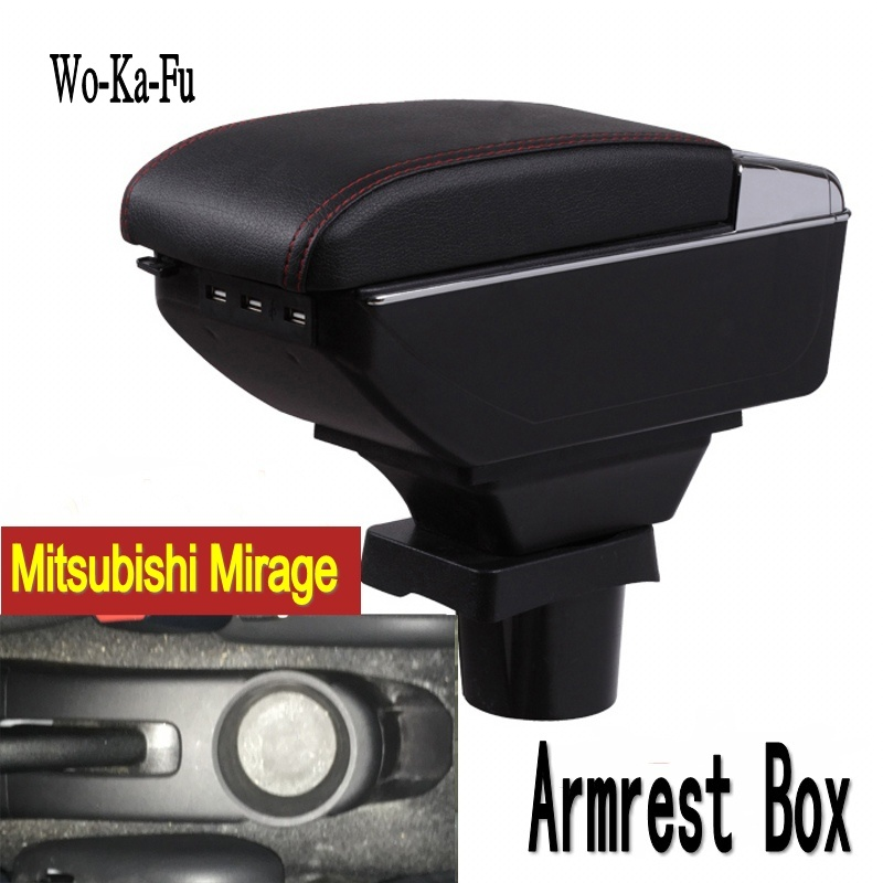 For Mitsubishi mirage Space Star armrest box central Store content Storage box with cup holder ashtray USB interface universal leather car armrest central store content storage box with cup holder center console armrests free shipping