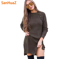 SanHuaZ Brand 2017 Autumn Winter Women S Sweaters Casual O Neck Long Sleeve Lace Up Split