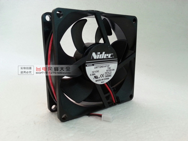 8025 8CM 12V 0.38A Dual Ball Chassis Cooling Fan L80T12NS1A7-57
