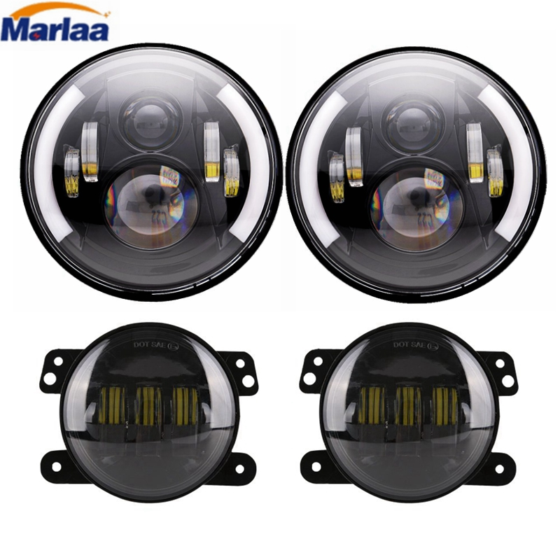 Marlaa Pair LED Round Headlights 7 Inch H6024 Headlamp + Pair 4 Inch 30W LED Fog Light DRL Kit for Jeep Wrangler JK 2007 2017