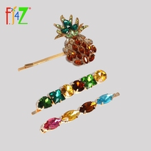 F.J4Z Luxury Hairpin Fashion Sparkling Colorful Stone Women Hair Jewelry Pineapple Fruit Clip Accessories Palillos del pelo