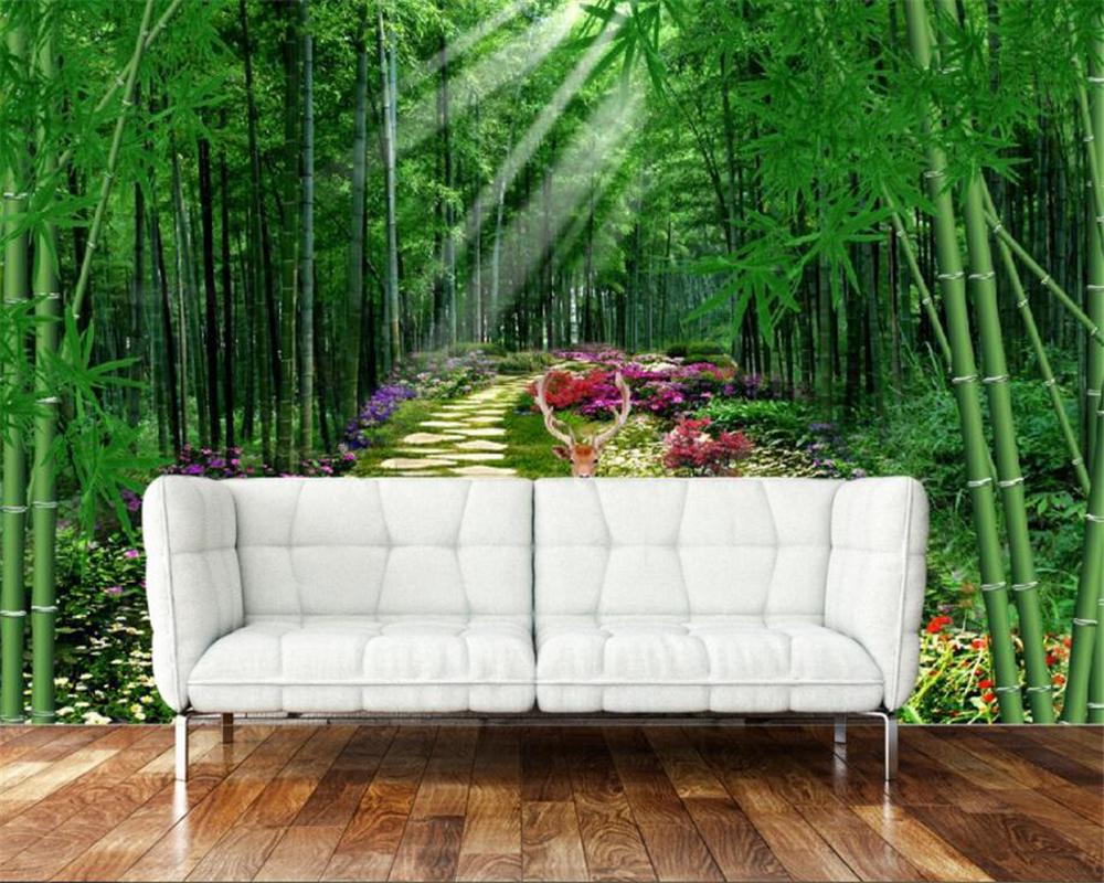 Beibehang Wallpaper For Walls 3 D Nature Scenery Green Bamboo