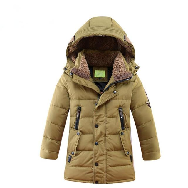 Crianças Das Meninas Dos Meninos Snowsuit Pato Jaqueta de Inverno Para Baixo Longo Mais Grosso Casaco Com Capuz Crianças Jaqueta de Inverno Para Baixo Roupas de Criança 12 Anos