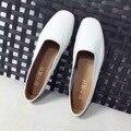 Cuero Genuin Mujeres Pisos Dedo Del Pie Cuadrado Zapatos Planos Boca baja de Cuero Suave Mocasines de Las Mujeres Zapatos Casuales Blancos Zapatos Mujer