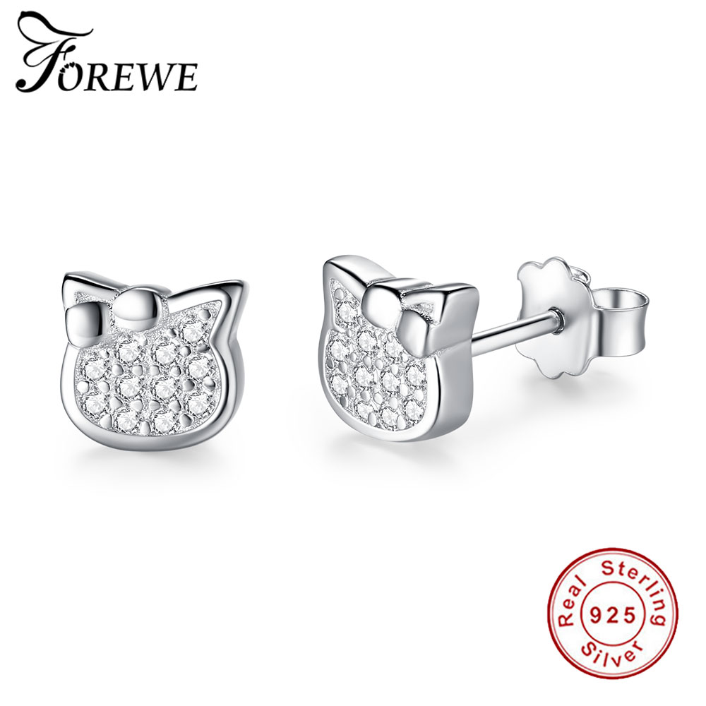 FOREWE 925 Sterling Silver Cartoon Kitty Stud Earrings for Women Girls Crystal Cute Animal Cat Kids Earring Children JewelryFOREWE 925 Sterling Silver Cartoon Kitty Stud Earrings for Women Girls Crystal Cute Animal Cat Kids Earring Children Jewelry