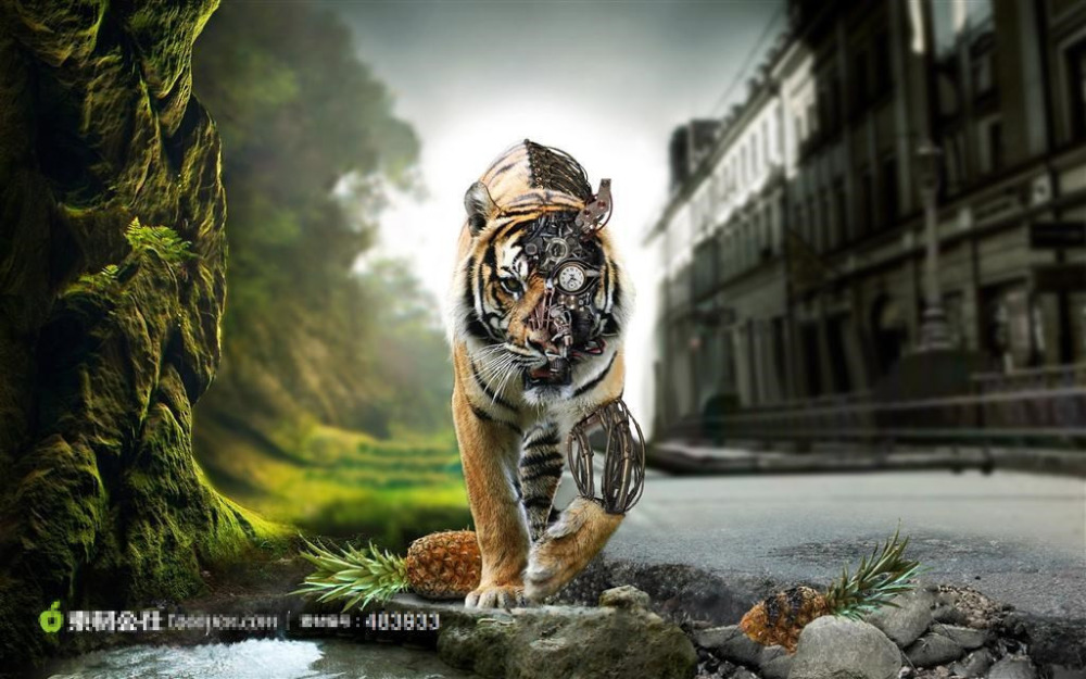 Canvas Prints Modern Electronic Tiger Wall Picture Home Decorative Abstract Tiger Canvas Wall Painting One PC Canvas Art Decor