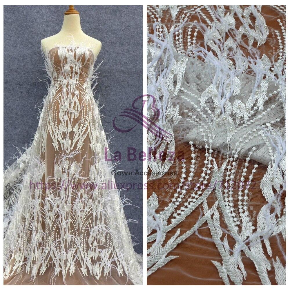 La Belleza Off white handmade beading feather sequins wedding dress lace fabric 51 width 1 yard LN1703WTLa Belleza Off white handmade beading feather sequins wedding dress lace fabric 51 width 1 yard LN1703WT