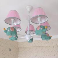 Детский сад Розовый люстра освещение ткани абажур E14 водить малыша светильник спальня современный слон дети лампы luminaria