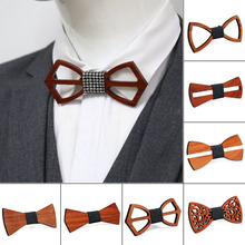 2019 Newly  Hot Men Handmade Wooden Bow Tie with Adjustable Strap for Anniversary Birthday Wedding   MSK66 premium handmade wooden bow tie for men