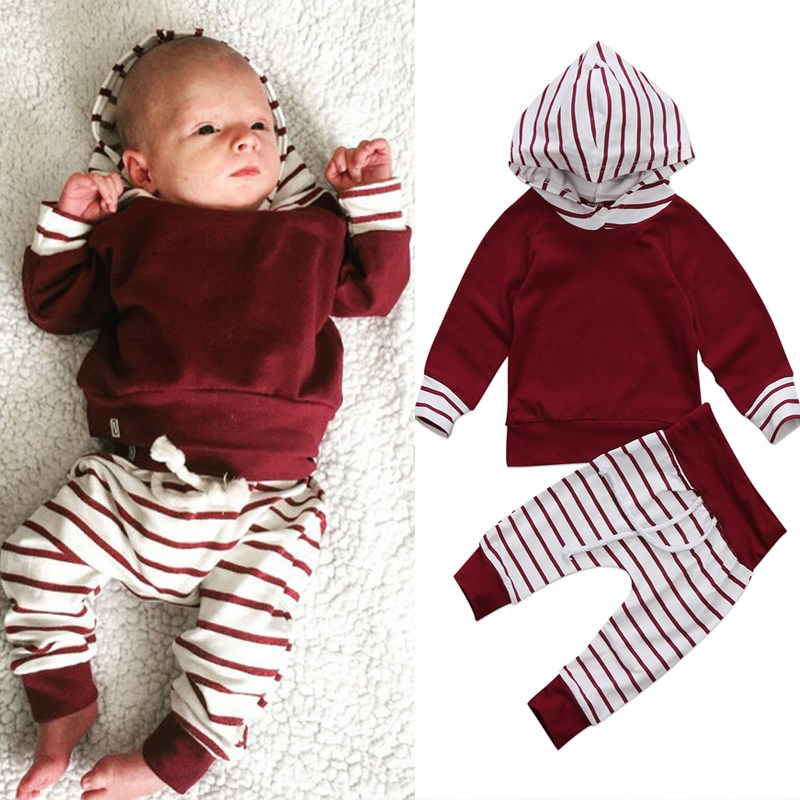 Newborn Baby Boy Girl Clothes Set Red White Hooded Tops+Striped Pant Legging 2PCS Outfits Toddler Kids Clothing Tracksuit цена
