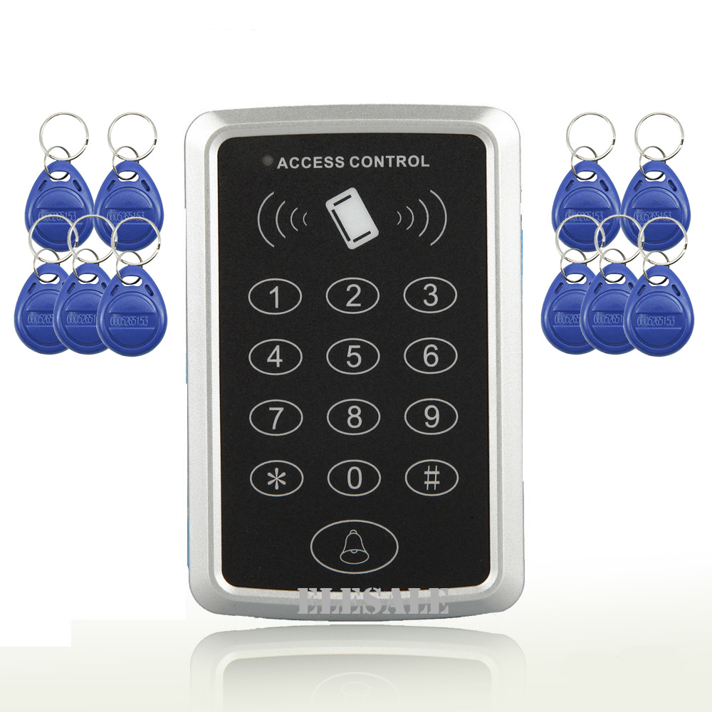 Electronic RFID Proximity Entry Access Control Keypad Password Unlock 10 RFID Tags Keyfobs Door Opener