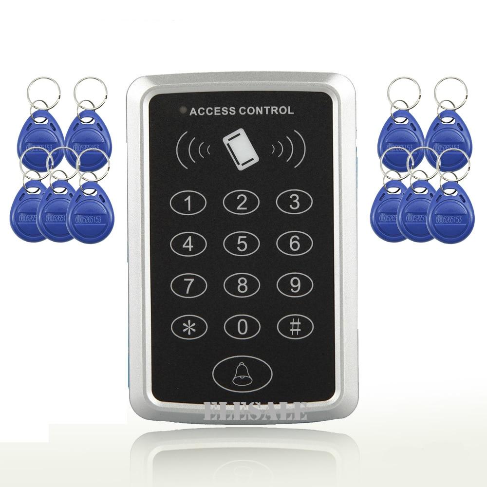 Free Shipping Electronic RFID Proximity Entry Access Control Keypad Password Unlock + 10 RFID Tags Keyfobs Door Opener turck proximity switch bi2 g12sk an6x