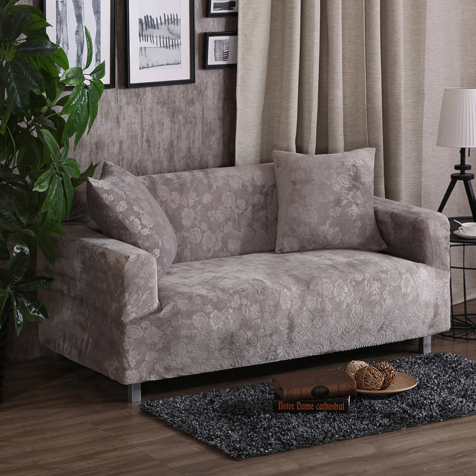 Grey Polyester Solid Color Elastic Corner Sofa Covers For Living Room Multi Size Couch Sofa