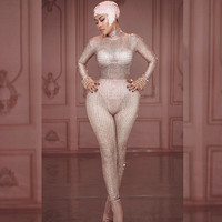 Shining Pink Rhinestones Nude Jumpsuit Sexy Performance Bodysuit Bra Short Pattern Rompers Stage Wear Celebrate Stretch Outfit