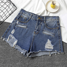 Hot SALE  Women Denim Shorts With Hole 2019 Fashion High Waist Summer Denim Short Jean Casual All Matched Jeans Shorts new hot flowers embroidery high waist shorts jeans short women hole denim solid blue casual summer vintage bottoms