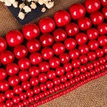 Perles rondes en pierre naturelle rouge, 1 brin, Imitation corail, 6mm 8mm 10mm 12mm 14mm 16mm, entretoise pour bricolage, matériaux de fabrication de bijoux