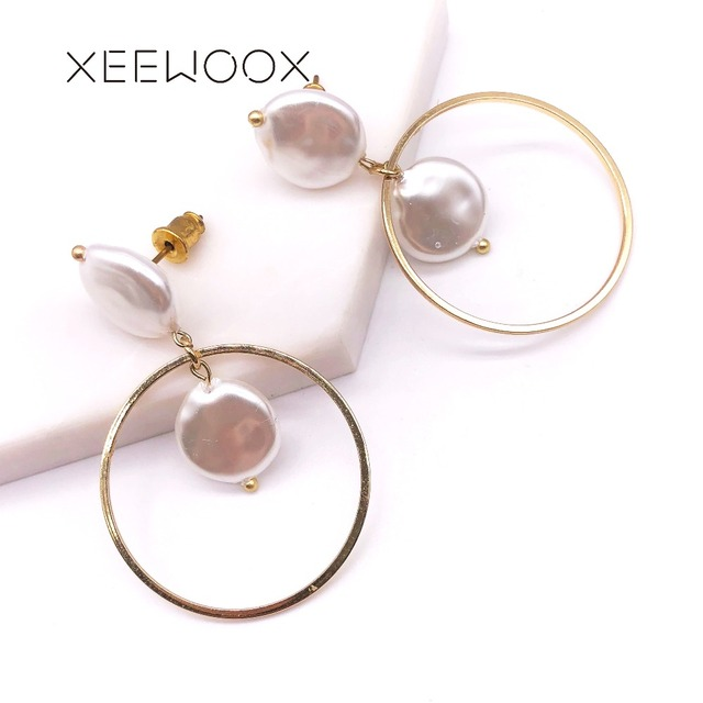 Bohemia Boho Big Circle Round Pearl Drop Earring White Pearl Woman Statement Drop Earring XEEWOOX Design 2019 New Party Gift