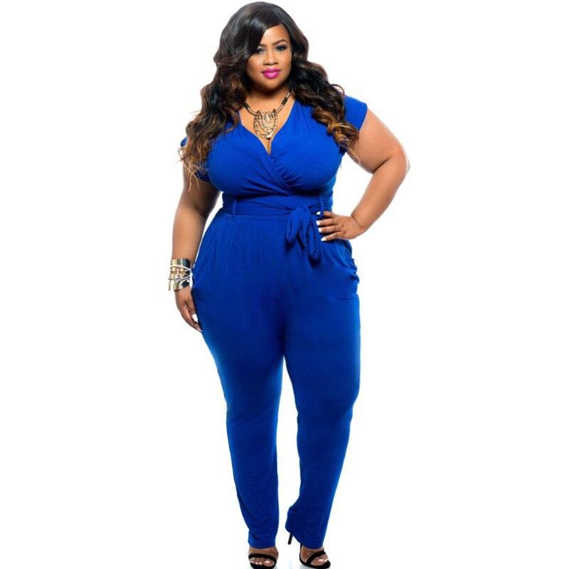 Sexy V-neck Black Blue Jumpsuit Office Ladies Workwear High Waist Short Sleeve Women Romper Summer Elegant Outfits Plus Size 3XL