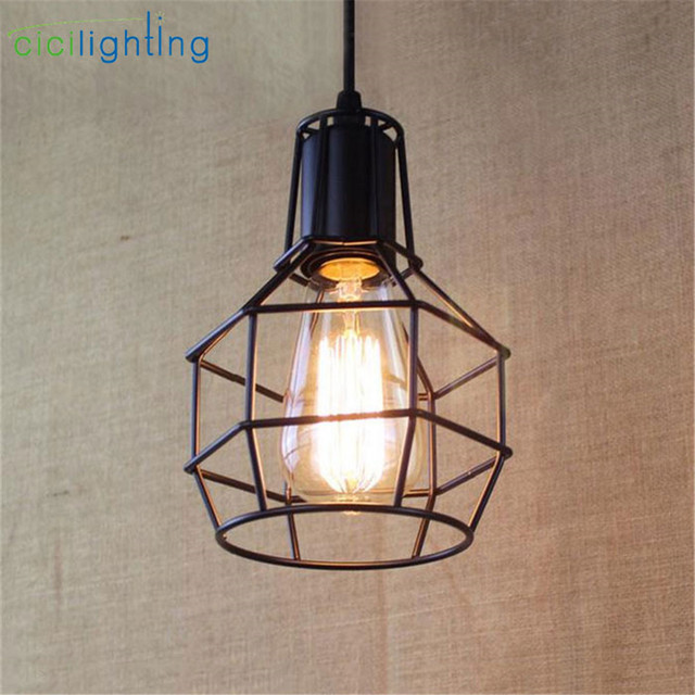 Warehouse Cage Pendant Lights American Country Lamps Vintage Lighting For Restaurant Bedroom Home Decoration