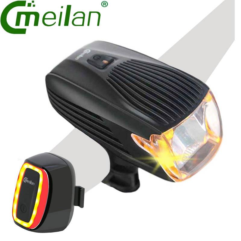 Meilan X1 Luz Da Bicicleta USB Recarregável Lâmpada de Cauda Da Bicicleta Da Bicicleta Led Front Light 16 LED Inteligente lâmpada Led ROHS CE Alemanha Stvzo