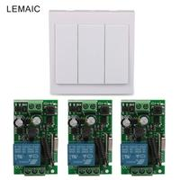 Wall Panel Switch 3 CH Transmitter 1Remote Relay Switch 433MHz RF TX 433MHz Relay Receiver Remote