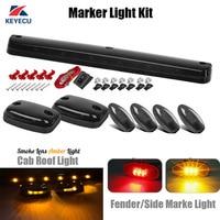 Keyecu 3x Smoke Lens Amber 12 LED Cab Roof Top Lights + 4x Red/Amber Fender/Side Marker lights for 2007 2014 Chevy/GMC
