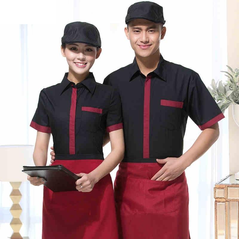 (10 Set-shirt & Schort) Rood/zwart Werkkleding Voor Restaurant Grote Kwaliteit Werken Kleding Bar Obers/serveerster Werkkleding Door
