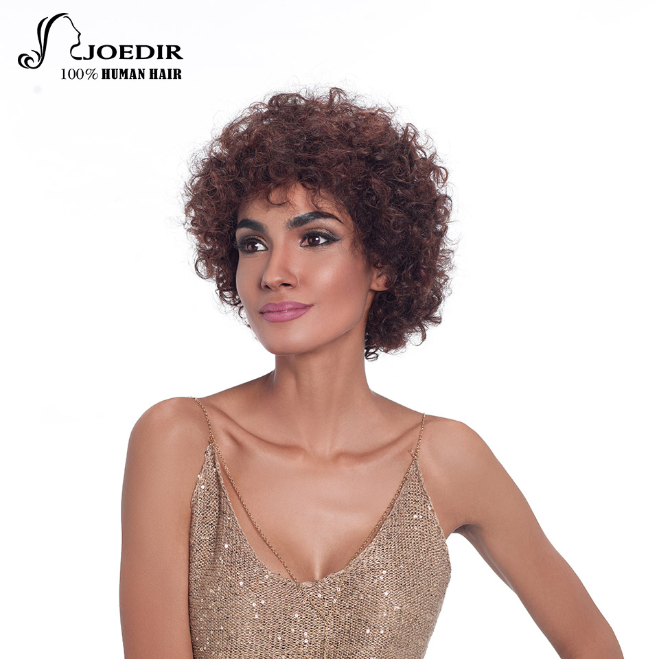 Joedir Human Hair Wigs Brazilian Remy Hair Bouncy Curl Style Machine Made Wigs For Women Color P1b/30 And P2/33 Free Shipping