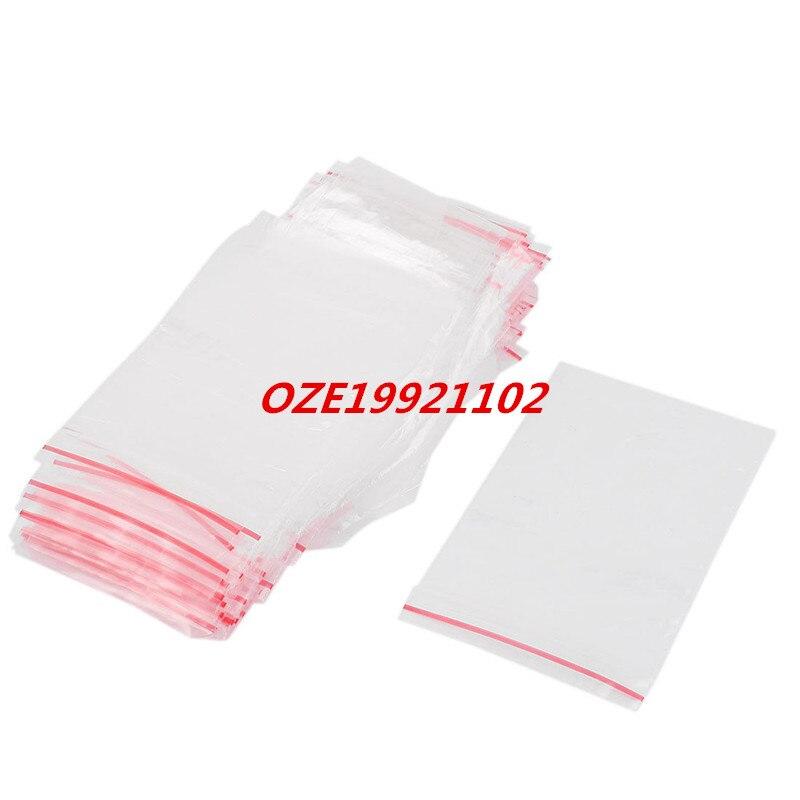100 Pcs 6cm X 9cm Clear 2Mil Poly Plastic Reclosable Zip Lock Zipper Bag